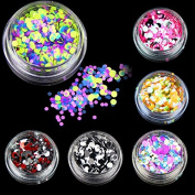Sindy 6 Bottles/set Plastic Nail Art Glitter Powder Colour Mixed Nail Glitter Sequins Women Beauty Salon Manicure Tools