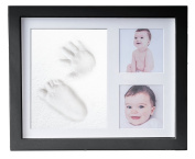Baby Hand & Foot Print Frame Kit - include free rolling pin – Soft, Safe imprint Clay for moulding with a Premium Wood frame and High Quality Acrylic Glass Cover