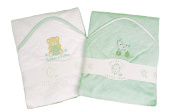 A Set of Two Luxury Hooded Baby Bath Towels - 100% Cotton Animal Appliques …