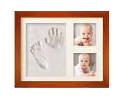 CHARMING BABY HAND & FOOTPRINT PICTURE FRAME KIT for Boys and Girls, Cool & Unique Baby Shower Gifts for Registry, Memorable Keepsakes Decorations for Room Wall or Table Decor, Premium Clay & Wood Frames