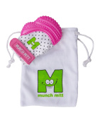 Mouthie Mitt Baby Teething Glove Pink Unisex - USA Award Winning Baby Mitten -Soothing Pain Relief- Age 3-12 Months Protects Babys Hands from Salvia & Chewing - Secure Adjustable Strap. Great for Travel Washable Glove & Travel Bag included. Free UK Del ..