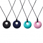 Chewable Silicone Round Pendant Necklace Teething Jewellery Non-toxic BPA and Phthalate Free 4 Colours