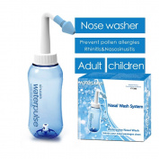 Adjustable Hydro Nasal Wash Cleaner & Sinus Irrigation System with Physiological Saline for Adult Kid Allergic Rhinitis Nasal Irrigation Pot Nose Care Neti Pot