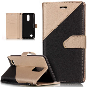 LG K4 2017 Case,LG K4 2017 Cover,ikasus Hit Colour Collision Premium PU Leather Fold Wallet Pouch Flip Case Cover Bookstyle Card Slots & Stand Protective Case Cover for LG K4 (2017),Gold