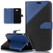 Galaxy J7 2017 Case,Galaxy J7 2017 Cover,ikasus Hit Colour Collision PU Leather Fold Wallet Pouch Case Premium Leather Wallet Flip Stand Credit Card ID Holders Case for Samsung Galaxy J7 (2017),Blue