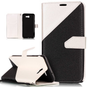 Galaxy J7 2017 Case,Galaxy J7 2017 Cover,ikasus Hit Colour Collision PU Leather Fold Wallet Pouch Case Premium Leather Wallet Flip Stand Credit Card ID Holders Case for Samsung Galaxy J7 (2017),White
