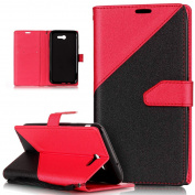 Galaxy J7 2017 Case,Galaxy J7 2017 Cover,ikasus Hit Colour Collision PU Leather Fold Wallet Pouch Case Premium Leather Wallet Flip Stand Credit Card ID Holders Case for Samsung Galaxy J7 (2017),Red