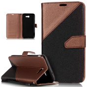 Galaxy J7 2017 Case,Galaxy J7 2017 Cover,ikasus Hit Colour Collision PU Leather Fold Wallet Pouch Case Premium Leather Wallet Flip Stand Credit Card ID Holders Case for Samsung Galaxy J7 (2017),Brown