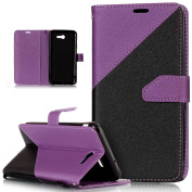 Galaxy J7 2017 Case,Galaxy J7 2017 Cover,ikasus Hit Colour Collision PU Leather Fold Wallet Pouch Case Premium Leather Wallet Flip Stand Credit Card ID Holders Case for Samsung Galaxy J7 (2017),Purple
