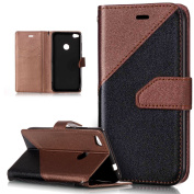 Huawei P8 Lite 2017 Case,Huawei P8 Lite 2017 Cover,ikasus Hit Colour Collision Premium PU Leather Fold Wallet Pouch Flip Stand Credit Card ID Holders Case Cover for Huawei P8 Lite 2017,Brown