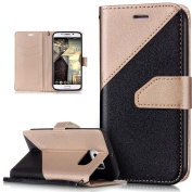 Galaxy S6 Edge Case,Galaxy S6 Edge Cover,ikasus Hit Colour Collision PU Leather Fold Wallet Pouch Case Premium Leather Wallet Flip Stand Credit Card ID Holder Case Cover for Samsung Galaxy S6 Edge,Gold