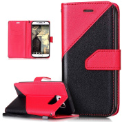 Galaxy S6 Edge Case,Galaxy S6 Edge Cover,ikasus Hit Colour Collision PU Leather Fold Wallet Pouch Case Premium Leather Wallet Flip Stand Credit Card ID Holders Case Cover for Samsung Galaxy S6 Edge,Red