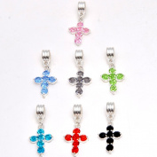 RUBYCA 10Pcs Cross Dangle Pendant Charm Beads Crystal Rhinestone European Bracelet Jet Black