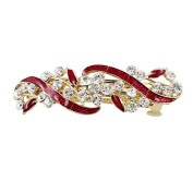 RuiChy Metal Rhinestone Decor Leaves Shape Women Clip Barrette, Red