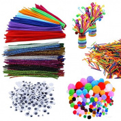 SIX VANKA 650 Pieces Pipe Cleaners Set, Including 200pcs 20 Colours Assorted Colour Chenille Stems, 150pcs Self-sticking Wiggle Googly Eyes, 200pcs Pom Poms and 100pcs Craft Sticks
