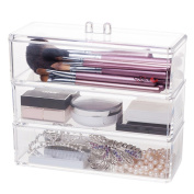 Choice Fun 3 Tiers Clear Acrylic Cosmetic Organiser Holder with Lid
