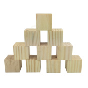 Efivs Arts 5.1cm Wood Blocks Unfinished Wooden Block Cubes for Crafts and Carving-Set of 10