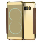 Samsung Galaxy S8 Mirorr Glass Flip Cover-Auroralove Gold Samsung S8 Full Body Smart Case Slim Touch Screen Window Plating TPU Back Cover for Galaxy S8