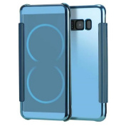 Samsung Galaxy S8 Mirorr Glass Flip Cover-Auroralove Blue Samsung S8 Full Body Smart Case Slim Touch Screen Window Plating TPU Back Cover for Galaxy S8