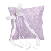 Remedios Rhinestone Lace Wedding Ring Bearer Pillow, Lilac