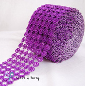 Diamond Flower Shape Mesh Wrap Roll Faux Rhinestone Crystal Ribbon 10cm x 10 yards (9.1m) …