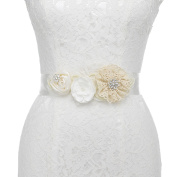 Remedios Handmade Satin and Lace Flower Pearl Beaded Bridal Sash Wedding Belts Dress Gown D¨¦cor Accessories