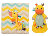 Taggies Jolly Girafe Snuggle Blanket and Security Toy with Rattle Head