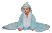 Baby Mink Premium Soft Sherpa Character Hooded Towel Blanket, Monster, Blue, 100cm L x 80cm W