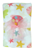 Stephan Baby Go Fish Cotton Muslin Swaddle Blanket, Pink Fishes