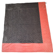 Cosy Wozy Signature Minky Baby Blanket, Coral/Charcoal Grey, 80cm x 90cm