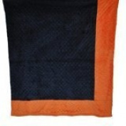 Cosy Wozy Signature Minky Baby Blanket, Navy Blue/Bright Orange, 80cm x 90cm