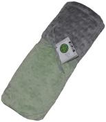 Cosy Wozy Signature Minky Baby Blanket, Sage Green/Silver, 80cm x 90cm