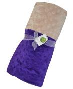 Cosy Wozy Signature Minky Baby Blanket, Purple/Tan, 80cm x 90cm