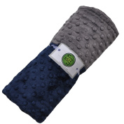 Cosy Wozy Signature Minky Baby Blanket, Navy Blue/Charcoal Grey, 80cm x 90cm