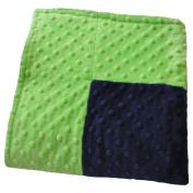 Cosy Wozy Signature Minky Baby Blanket, Navy Blue/Lime Green, 80cm x 90cm
