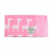 "My Blankee Dolce Vita Giraffa Minky Pink w/ Minky Dot Rose Pink Baby Blanket, 29"" x 35"""
