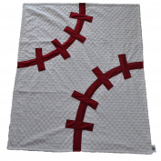 Cosy Wozy Baseball Themed Minky Baby Blanket, White/Navy Blue, 80cm x 90cm