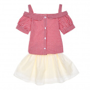Samber Sleeveless Top Plaid Shirt Bubble Skirt Short Skirt Skirt Top and Skirt Sets Lovely for Baby Girls
