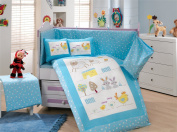 Zoo - Baby Deluxe Duvet Cover Set - 100% Cotton - 4 pieces (Blue) - Made in Turkey
