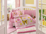 Puffy - Baby Deluxe Duvet Cover Set - 100% Cotton - 4 pieces (Pink) - Made in Turkey