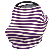 Kolamom Baby Canopy Car Seat Cover Multi-Use Infant Nursing Cover Stretchy Breathable Canopies Giftset Purple