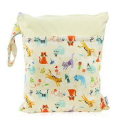 Hi Sprout Grab and Go Waterproof Washable Reusable Nappy Wet Dry Cloth Nappy Bags, Cute Cat