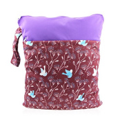 Hi Sprout Grab and Go Waterproof Washable Reusable Nappy Wet Dry Cloth Nappy Bags, Flying Birds