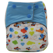 Asenappy Charcoal Bamboo Washable Reusable All-In-One Aeroplane Cloth Pocket Nappy Sewn Insert