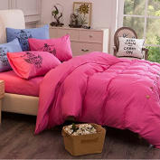 M-Egal Pure Colour Bedding Sets 4pcs/set Bedding Sets Duvet Cover Sets 2m & magenta