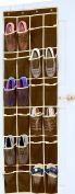 SimpleHouseware 24 Pockets Over the Door Hanging Shoe Organiser, Brown