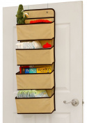 Simple Houseware Children 4 Pocket Over the Door Hanging Organiser, Beige