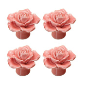 PYD 4PCS Room Kitchen Drawer Knob Handle Rose Flower Ceramic Dresser Cabinet Cupboard Wardrobe Pulls Furniture Decor