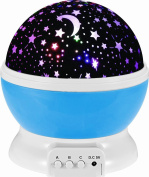 Aeroway Night Light Moon Star Projector 360 Degree Rotation - 4 LED Bulbs Light Lamp Starry Moon Sky Night Projector With USB Cable, Unique Gifts for Men Women Kids Best Baby Gifts Ever - Blue