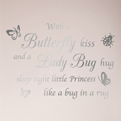 80cm x 60cm With a Butterfly Kiss and A Lady Bug Hug Sleep Tight Little PRINCESS Like a Bug in a Rug Nursery Wall Decal Sticker Art Mural Home Decor Quote Wall Decal Sticker Art Mural Home Decor Quote